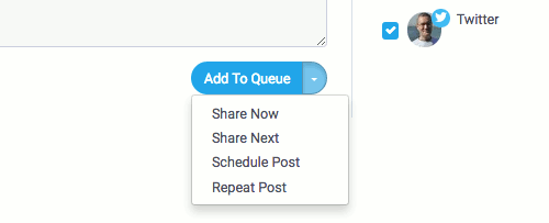 The posting options in SocialPilot