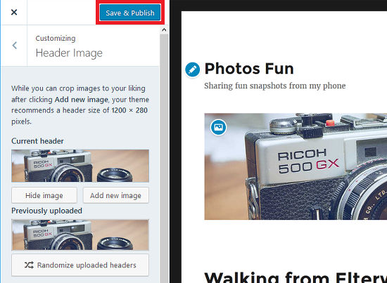 Customise the WordPress theme with a header image