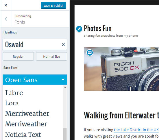 Customise the WordPress theme by selecting a new font
