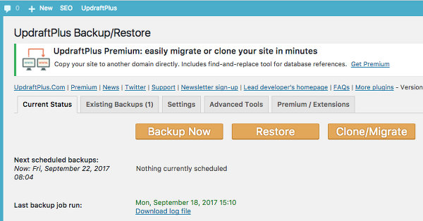 UpdraftPlus plugin for WordPress backups