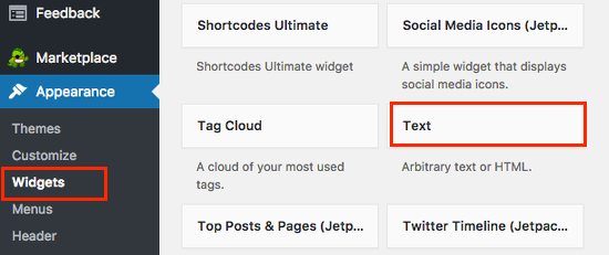 The WordPress Text widget