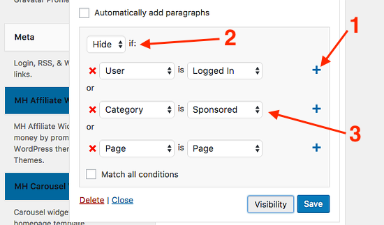 WordPress widget display options using Jetpack