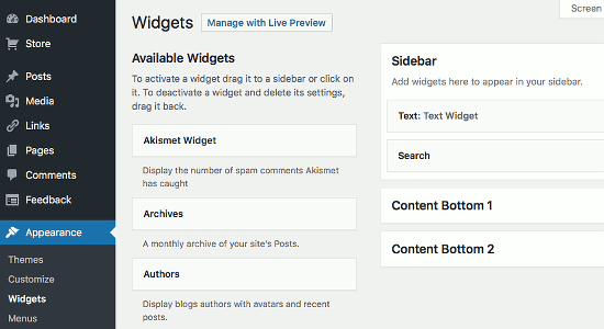 Add widgets to your WordPress website