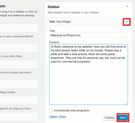 Edit a widget in WordPress