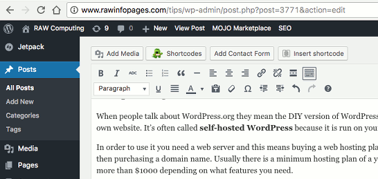 Editing a post in WordPress