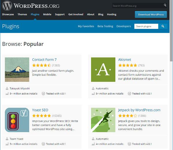 View WordPress plugins at the WordPress website