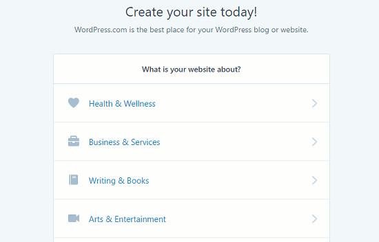 Create a website at wordpress.com
