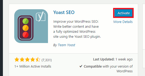 Activate the Yoast plugin in WordPress