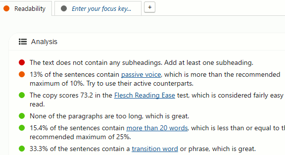 Use Yoast to check the readability of your WordPress post