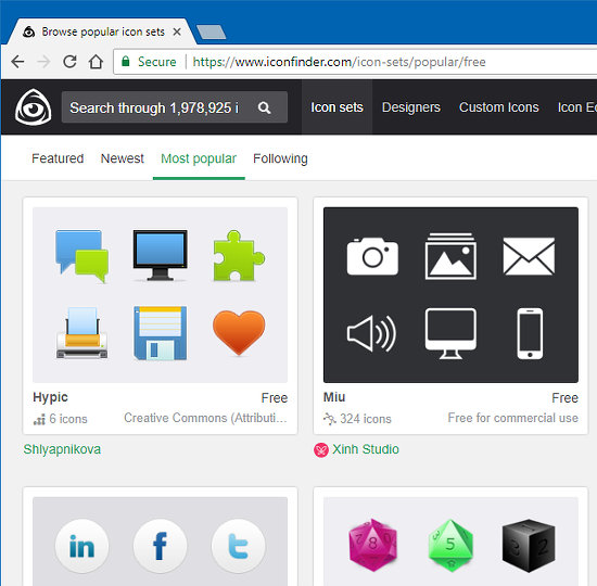 Iconfinder website with free icon sets
