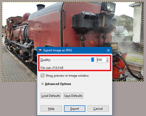 Set the JPEG quality setting to 100 for the best images