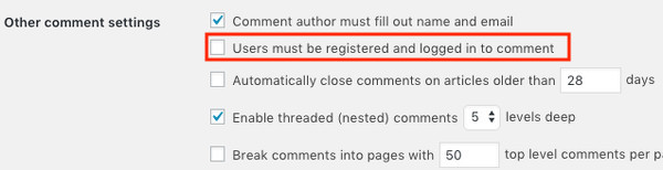 Restrict WordPress comments to users that are logged in