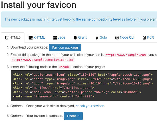 Real Favicon Generator website
