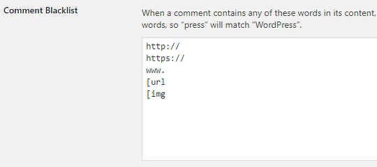 Blocked words in WordPress comments