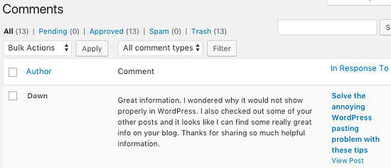 Comments in the WordPress admin interface