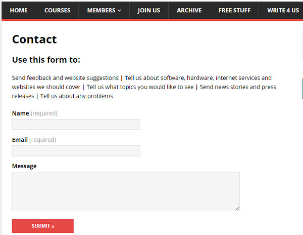 An example contact form