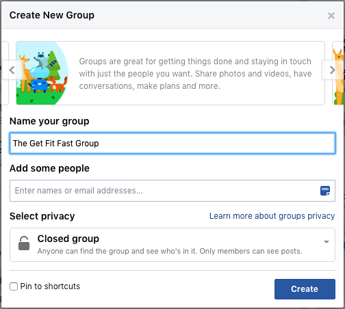 Create a Facebook group