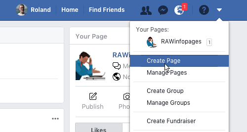Create a Facebook page from the menu