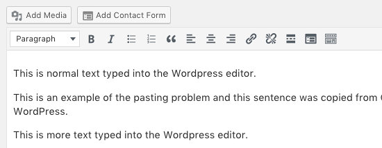 Text pasted into the WordPress post editor