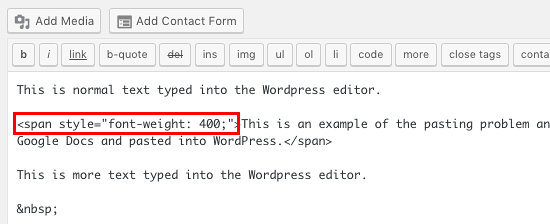 Hidden code is visible on the Text tab in the WordPress post editor