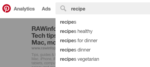 Use Pinterest's auto-suggest to see popular search terms