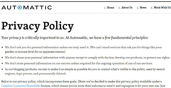 Automattic privacy policy