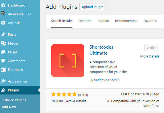 The Shortcodes Ultimate WordPress plugin