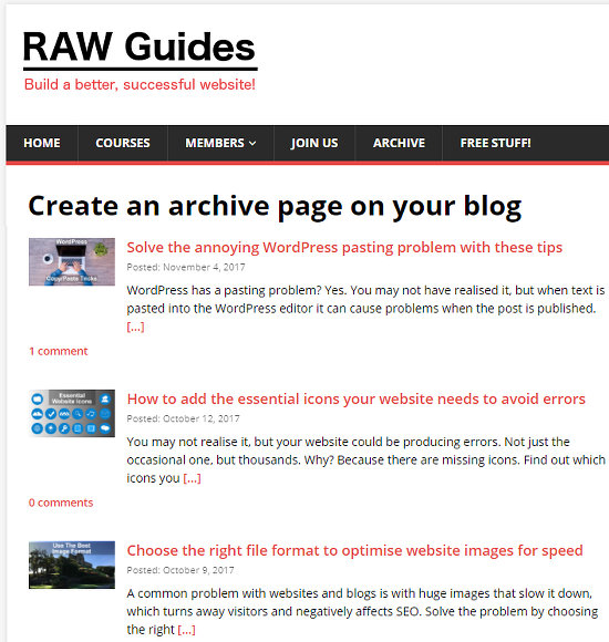 An example of a blog archive page