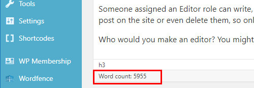 Word count in WordPress post editor