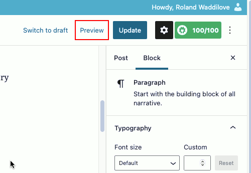 WordPress preview function in the editor