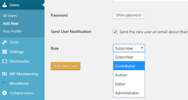 Create a WordPress contributor acount