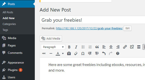 Add a new post in WordPress
