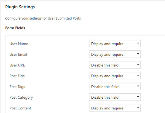 User Submitted Posts plugin settings