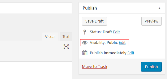Publish a post in WordPress - the publish options