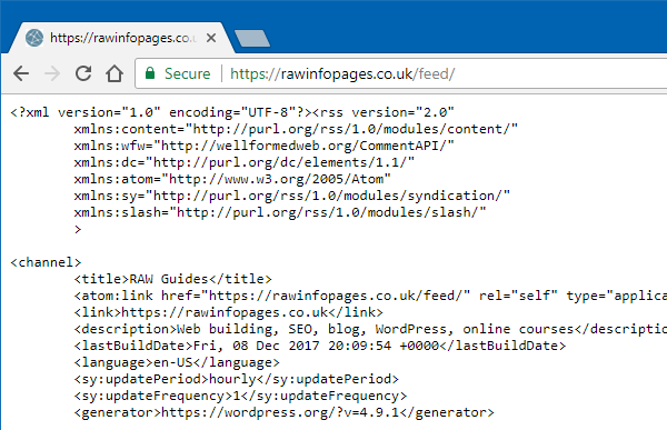 RSS feed code view