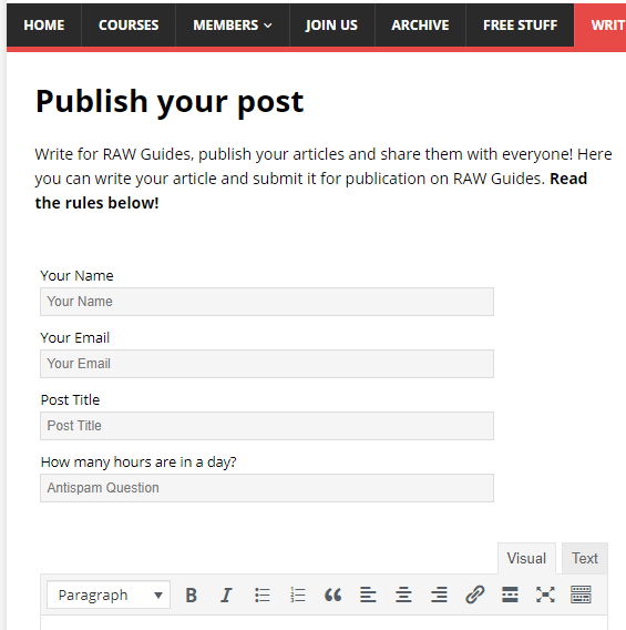 User Submitted Posts lets people write for your website