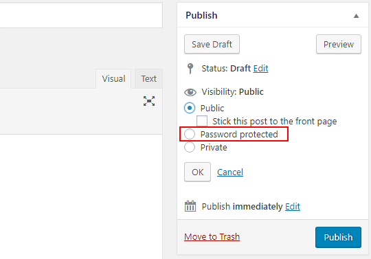 The post visibility options in WordPress