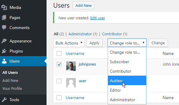 Change the role for a user in WordPress