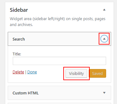 View a widget in WordPress admin interface