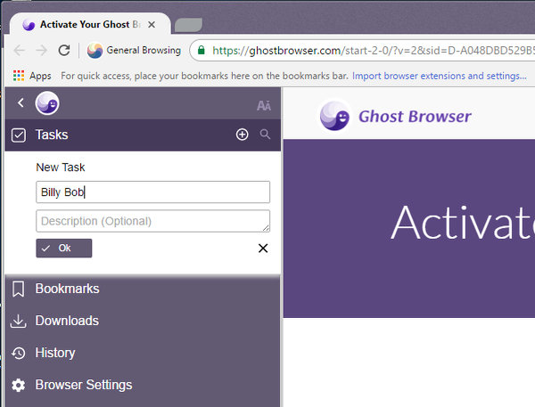 Create tasks (tab sets) in Ghost Browser