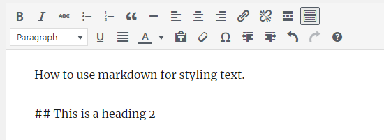 Creating a heading using Markdown