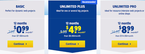 1and1 web hosting plans