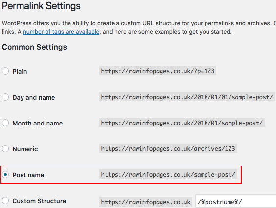 Select the link structure for a WordPress website