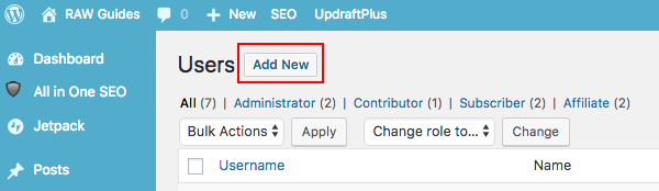 Add a new WordPress user account