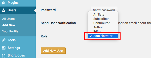 Set a WordPress user account as an administrator