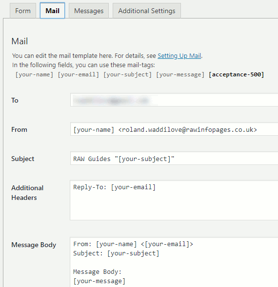 Configure the email settings with Contact Form 7 in WordPress