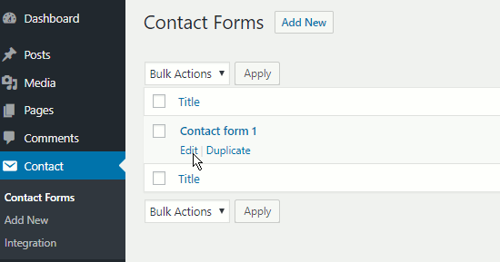 Contact Form 7 forms in WordPress