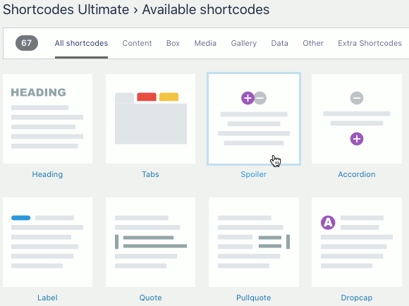 Shortcodes Ultimate plugin features in WordPress