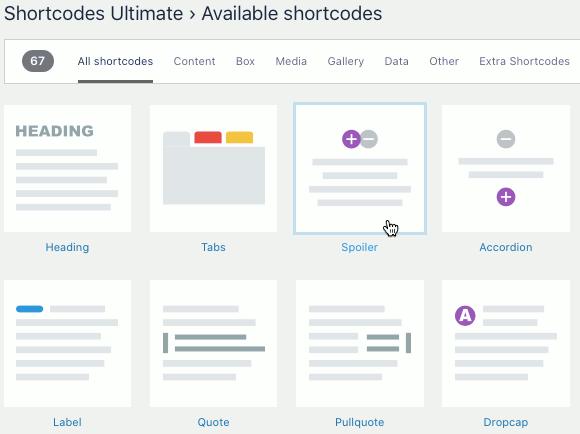 Shortcodes Ultimate plugin features in WordPress