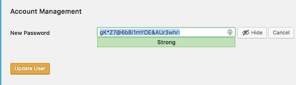 Use a strong password for user accounts in WordPress
